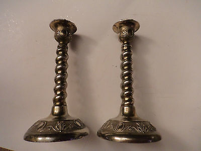 Pair vintage silver plated candle sticks Art Nouveau style