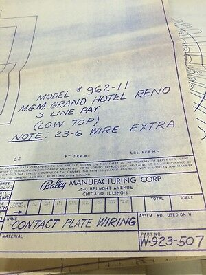 Bally Manufacturing Contact Plate Wiring   #962-11 Schematic