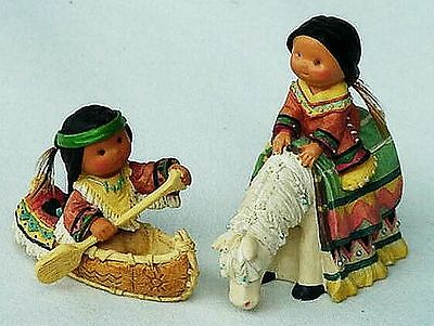 2 Nib Retired Friends Of The Feather Mini Figures Boy N Canoe Girl On Horse 1998