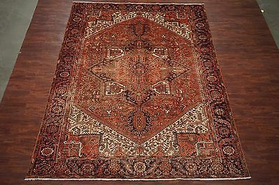 10X13 Antique Persian Heriz Hand-Knotted Wool Oriental Area Rug Carpet