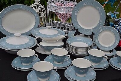 Royal Doulton Reflection Vintage Dinner Service & Tea Set 1950/60s Duck Egg Blue