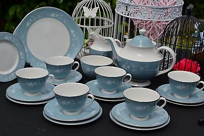 Royal Doulton Reflection Vintage 22pc Tea Set Inc Teapot Cups 1950/60s Duck Egg