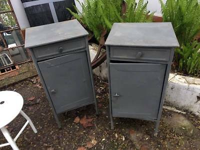 Pair of military style metal industrial bedside table 1960's- great condition
