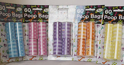 Doggie Poop Bags - 60 per pack - Choice of Colours