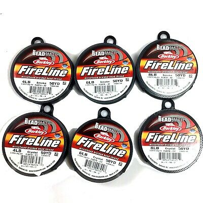 *Beadsmith Fireline Beading Thread,4,6,8 lbs, crystal, smoke, 50 yard. FREE SHIP