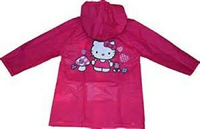 Kids Girl's Hello Kitty Pink Hooded Rain Coat Jacket Waterproof Youth Toddler