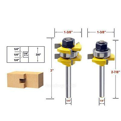 "2 X Tongue & Groove Router Bit Set 3/4"" Stock 1/4"" Shank Woodworking Tool Cutter"