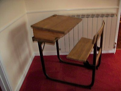Vintage Wooden School Desk with Chair Attached Collect from GL4