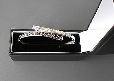 9ct white gold black and white diamond bangle