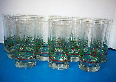 "12 Arby's 1987 Christmas Collection Holly/Berries Tumblers 5-3/4"" Glasses (ACS)"