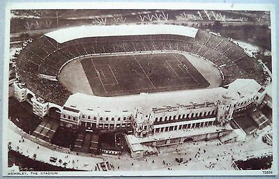 Wembley Stadium 1924 Aerial View With Match In Progress Sepia Football Postcard
