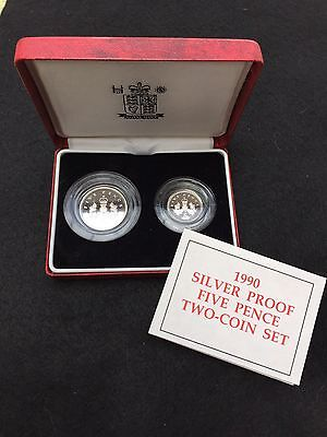 UK 1990 2 x 5 PENCE SILVER PROOF 2 COIN SET ( SMALL & LARGE ) - boxed/coa