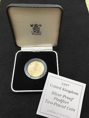ROYAL MINT 1997 Silver/Gold Proof PIEDFORT £2 Two Pound Coin with COA