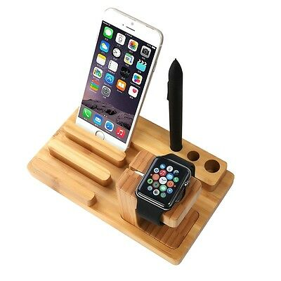 Dock Station Apple Watch iPad iPhone in Bamboo naturale Organizer Scrivania Pen
