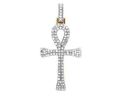 10K Yellow Gold Genuine Diamond Two Row Egyptian Ankh Cross Pendant 3/10 Ct 25MM