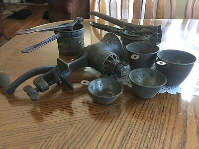 Vintage Meat Grinder And Two Ricers  5 Measure Cups