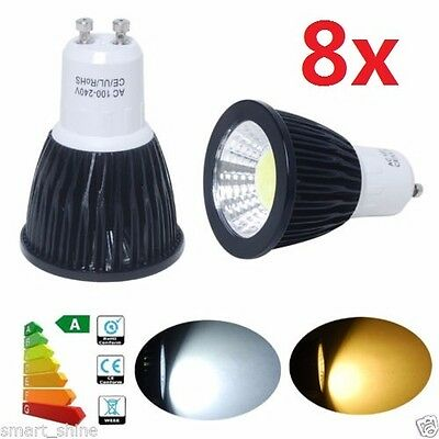 8X Dimmable GU10 9W CREE COB spot Light Bulb Downlight lamps Black Cool White