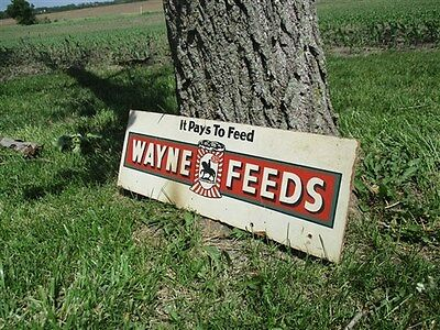 24 x 8 Wayne Feeds Allied Mills Vintage Fiber Advertising Sign Farm Country b