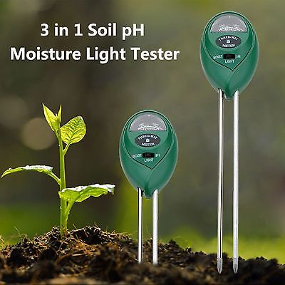 3 in1 Garden Plant Flowers Soil PH Tester Moisture Light Meter Testing Tools