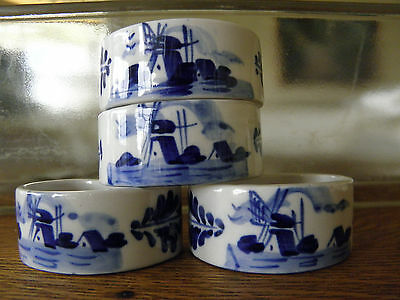 Delft Blue White Porcelain China Napkin Rings Set of 4 Crown DBL Windmill