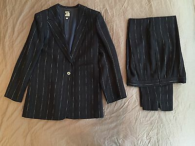 State of Claude Montana Ladies Trouser Suit Navy and White Size 8 10 12