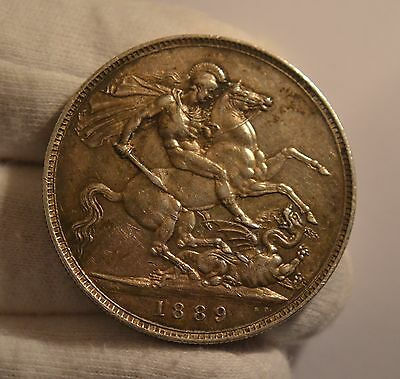 GB 1889 Queen Victoria. Silver Crown     *Extremely Nice Example*