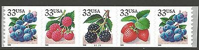 US Stamp #3305a 1999 Berries PNC Strip of 5 MINT nh $12.50