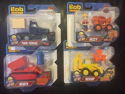 Bob the Builder Set Of 4 Diecast Vehicles - Muck, Scoop, Two-Tonne, Dizzy & Bob