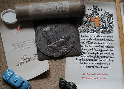 WW1 death plaque with letter and certificate Northumberland fusiliers
