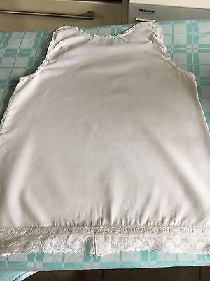 Victorian Child's Cotton Slip With Lace Edging & Button Top