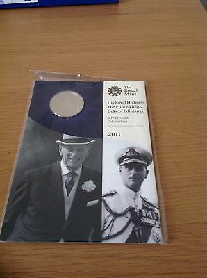 2011 HRH Prince Phillip 90th birthday £5 coin in presentation pack - Sealed