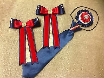 childs equestrian showing set - show tie and bows With Buttonhole Lead Rein