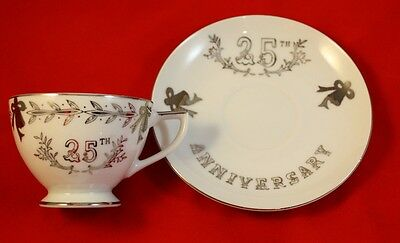 Lefton China 25th Silver Anniversary Tea Cup & Saucer Set Hand Painted