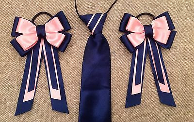 childs equestrian showing set - show tie and bows In NAVY & PINK Lead Rein