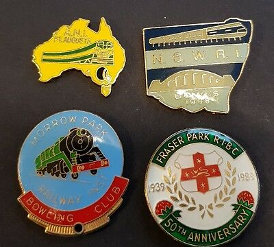4× Collectable Bowls Club Badges **BACKS REMOVED**