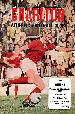 1976/77 Charlton Athletic v Leyton Orient, Division 2, PERFECT CONDITION