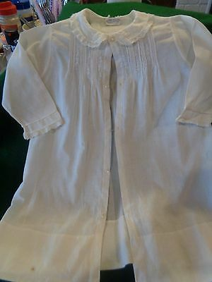Antique HAND MADE CHRISTENING DRESS Doll Pearl Buttons Embroidered Trim jSweet