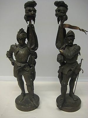 Pair of Heavy Bronze Spartan Roman Sculptures/Figurines, Vintage Statues 23""