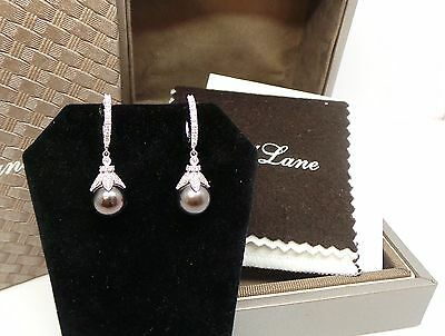Neil Lane Cultured Pearl and Diamond 14kt White Gold Earrings with Box NIB