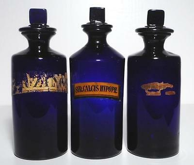 19c. Three Large English Cobalt Blue Apothecary Pharmacy Syrup Bottles