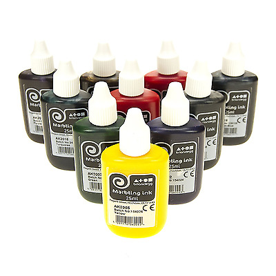 Brian Clegg Marbling Colour Inks Assorted Colours Set of 10 x 25ml Bottles AK18
