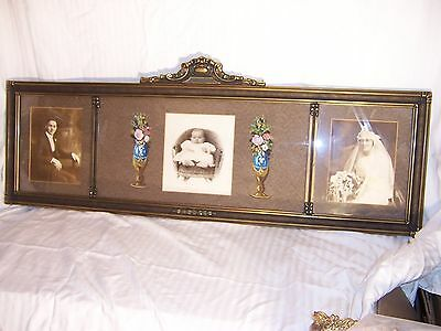 antique 3 pane panel buffet mantle mirror picture frame polychrome venetian gilt