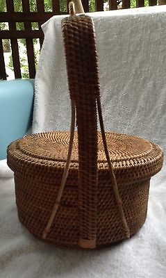Vintage woven lidded Chinese basket/ ?wedding basket, tea service?