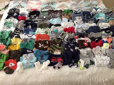 Huge 100 + Carters Newborn nb Boy Lot Sleepers Outfits Shoes Fall Winter WOW!