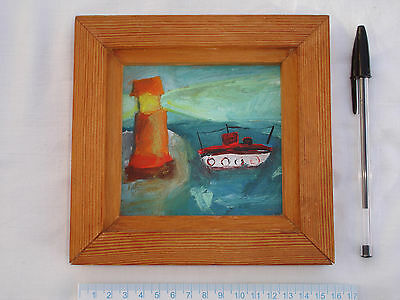 Original oil/acrylic seascape painting on board of a lighthouse+boat-Brighton?