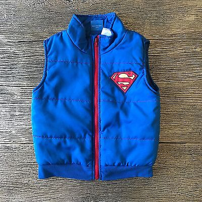 Superman DC Comics XL Boys Vest Blue Red Zip Up Toddler Sleeveless Superman Logo