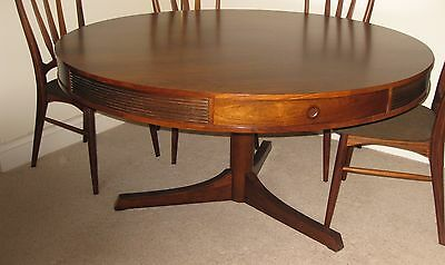 Large Round Drum Rosewood Table - Seats 6-8