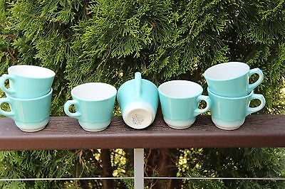 4 Vintage Shenango Restaurant Ware Coffee Cups Robins Egg Blue, collectible LOOK