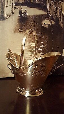 Vintage silver plated A1 engraved bucket shaped Sugar Bowl Scuttle & shovel