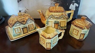 Vintage Keele Pottery Cottageware teapot set with cheese dish